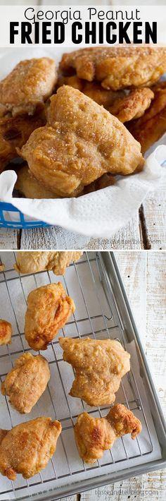Chicken thighs are coated in a thin powdered peanut butter and flour coating in this Georgia Peanut Fried Chicken that is not your typical fried chicken recipe!