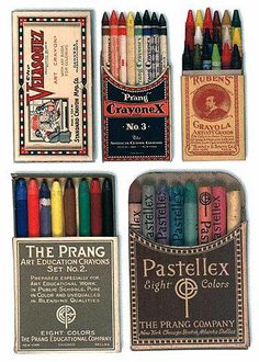 vintage crayons.  Why would I never have thought there was such a thing? Anyway...beautiful packaging and typography:)