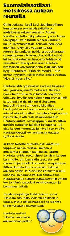 Vitsit: Suomalaissotilaat metsikössä aukean keskellä - Kohokohta.com Karma, Health Fitness, Jokes, Comics, Funny Stuff, Humor, Funny Things, Husky Jokes, Animal Jokes