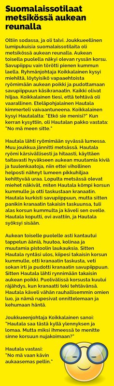 Vitsit: Suomalaissotilaat metsikössä aukean keskellä - Kohokohta.com Karma, Health Fitness, Jokes, Funny Stuff, Comics, Humor, Funny Things, Husky Jokes, Memes