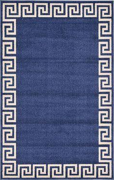 Navy Blue Greek Key Area Rug