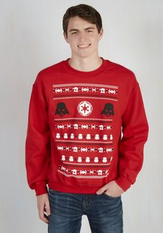 Walking in a Winter Vader Land Sweatshirt. Is your fave fella a fanatic for Star Wars?  #modcloth