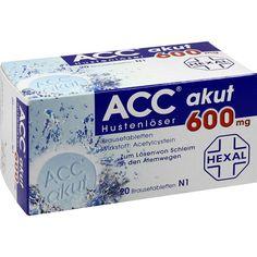 ACC akut 600 Hustenlöser und Schleimlöser Brausetabletten:   Packungsinhalt: 20 St Brausetabletten PZN: 00010808 Hersteller: Hexal AG…