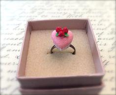 Miniature Pink Heart Shaped Cake Adjustable Ring. Birthday Treat. Sweet Yummy Miniature Cake. Kawaii Resin Cake. Brass Ring. 10 Dollars