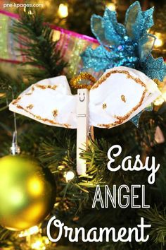 Easy Christmas Angel Ornament Craft - Pre-K Pages Easy Christmas Angel ornament kids in preschool and kindergarten can make. A keepsake ornament parents will cherish forever. Christmas Angel Crafts, Christmas Angel Ornaments, Preschool Christmas, Christmas Activities, Holiday Crafts, Christmas Bible, Childrens Christmas, Christmas 2019, Holiday Decor
