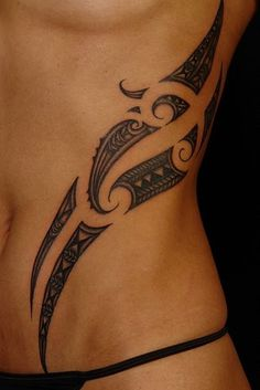 Tribal Tattoo On Side For Women