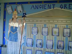 Greek display Teaching Displays, Class Displays, School Displays, Classroom Displays, Teaching Art, Ancient Greece Display, Ancient Greece Ks2, Ancient Rome, Greek History