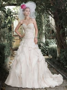 Maggie Sottero - TIFFANY, Opal organza is artfully draped to create this luxurious ball gown wedding dress