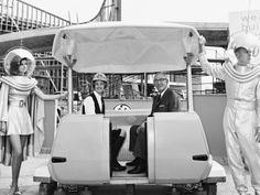 Roy Disney and Disneyland Ambassador Marcia Miner unveil the new PeopleMover in which toured Tomorrowland on an elevated track. Disneyland Tomorrowland, Disneyland 60th, Disneyland Secrets, Vintage Disneyland, Disneyland Resort, Disneyland Times, Disneyland Photos, Retro Disney, Old Disney