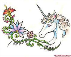 Flowers And Unicorn Feminine Tattoo Design