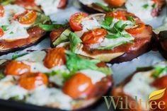Wildtree natural grapeseed oil, Wildtree pizza sauce seasoning.  Eggplant Pizzas - Wildtree Recipes