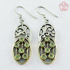 925 Sterling Silver & Brass Peridot Stone Fashion Dangle & Drop Earrings E4072 #SilvexImagesIndiaPvtLtd #DropDangle