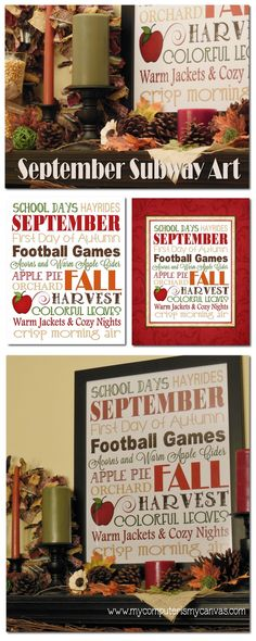 September / Fall Decorating Tips and Subway Art
