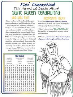 Kids' Connection: Saint Kateri Tekakwitha Catholic Religious Education, Catholic Crafts, Catholic Religion, Catholic Kids, Catholic School, Kids Connection, All Saints Day, World Religions, Catechism