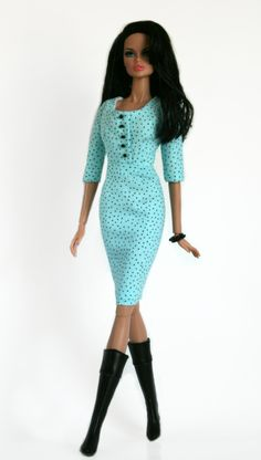Blue and Black Polka Dotted Dress for Barbie Fashion Royalty Silkstone Dolls