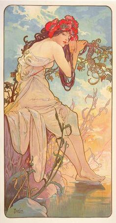 """nekasuz: """"Summer (1896) by Alphonse Mucha (1860-1939) Czech. muchafoundation.org """""""