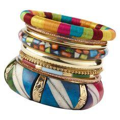 set of bracelets from Aldo Accessories Tribal Bracelets, Cute Bracelets, Bangles, Colorful Bracelets, Bangle Bracelets, Handbag Accessories, Jewelry Accessories, I Love Jewelry, Yoga Jewelry