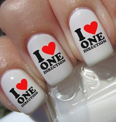 I LOVE ONE DIRECTION Nail Art Decals Wrap Stickers Water Transfer Foils ie.picclick.com