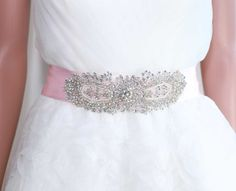 Pink wedding beltRhinestone crystal belt Bridal by whitegardenlace