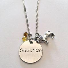 Circle of Life Timon Pumbaa Simba Nala Disney Lion King Inspired Hand Stamped Charm Necklace #circleoflife #thelionking #simba #nala #timon #pumbaa #disney #handstamped #charmnecklace