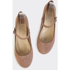 Mary Jane Suede Flats TAUPE ($18) ❤ liked on Polyvore featuring shoes, flats, taupe, round toe ankle strap flats, ankle strap flats, ankle wrap flats, flat pumps and mary jane shoes