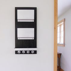 VOLTAGE: modern minimalist black wall mount mail holder key rack wallet phone organizer shelf entry decor dorm room organization urban chic