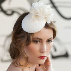 Mathilde - swiss dot mini button with organza flowers. Cappellino Bridal