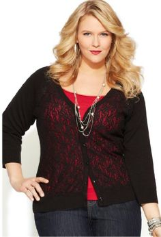 Avenue Plus Size Lace Front Raglan Cardigan, Black 22/24 coupon| gamesinfomation.com