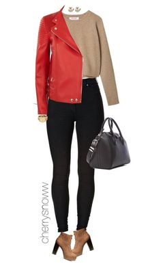 """Suede boots and red biker jacket fall outfit"" by cherrysnoww ❤ liked on Polyvore featuring H&M, Givenchy, Michael Kors, Kate Spade, red, bikerjacket and suedeboots"