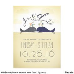 Whale couple cute nautical save the date postcard