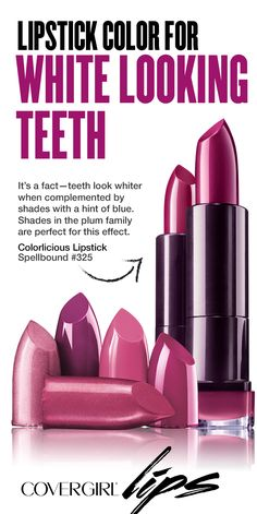 It's a fact—teeth look whiter when complemented by lipstick shades with a hint of blue. Shades in the plum family are perfect for this effect. Try plum-toned lipsticks when you'll be photographed often, like weddings, parties or red carpet type of events.
