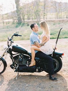 Motorcycle love shoot | Photography: Carmen Santorelli Photography - carmensantorellistudio.com  Read More: http://www.stylemepretty.com/california-weddings/2014/06/05/motorcycle-love-session/