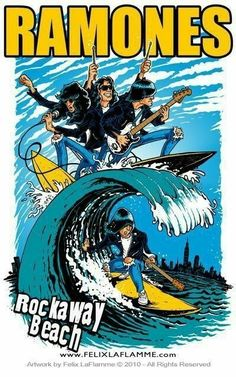 Ramones rock away beach Rock Posters, Band Posters, Music Posters, Vintage Music, Ramones, Funny Cartoons, Art Music, Rock Music, Rock Art