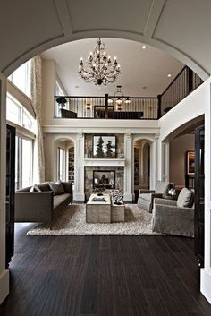 Top 10 Favorite Grey Living Room Ideas dark wood floors open plan: The post Top 10 Favorite Grey Living Room Ideas appeared first on House ideas. Living Room Grey, Home Living Room, Living Spaces, Dark Wood Floors Living Room, Living Area, Living Room Ideas With Dark Wood Floors, Kitchen Living, Living Room Shag Rug, Living Room Decor Hardwood