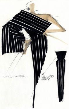 Off the shoulder stripes Fashion Books, Fashion Art, Fashion Beauty, Vintage Fashion, Fashion Design Portfolio, Fashion Design Drawings, Fashion Illustration Sketches, Fashion Sketches, Gianfranco Ferre