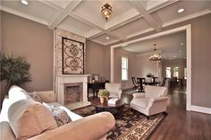 ceilings and brick fireplace