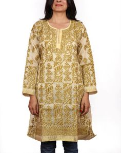Ethnic exclusive designer Lucknow Chikan hand embroidery kurta/ tops for comfortable summer wear for women/ladies/girls Chest :44 inch
