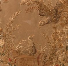 Chinese silk embroidery of birds with floral wreath framed c1860