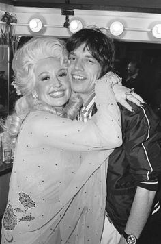 Dolly Parton and Mick Jagger backstage after her concert at The Bottom Line , 1977.