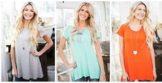 """This comfy Must-Have Spring Tunic Tee is the basic every woman needs for Spring! Available in an array of gorgeous Spring hues, you will absolutely live in this top!Runs true to Size:Small fits 0-4, Medium fits 6-8, Large fits 10-12.Models pictured are 5' 3"""" - 5' 10"""" & are all wearing a Size Small."""