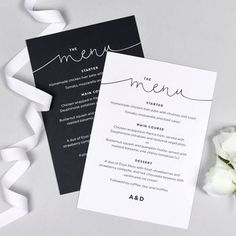 Kate Wedding Menu Cards by Project Pretty, the perfect gift for Explore more unique gifts in our curated marketplace. Diy Menu Cards, Wedding Menu Cards, Table Cards, Wedding Stationery, Birthday Dinner Menu, Dinner Party Menu, Diner Menu, Diner Party, Monochrome Weddings