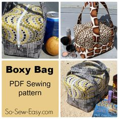 The Boxy Bag Pattern. Great for a lunch box, cosmetics or toiletries bag, mini holdall for the beach, traveling and more. Soft and padded ...