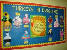 Turkeys In Disguise Thanksgiving Bulletin Board Idea November Bulletin Board Use it along with the children's book, T'was the Night Before Thanksgiving. The students have to disguise their turkeys in order to save them from the farmer's axe. November Bulletin Boards, Thanksgiving Bulletin Boards, Bulletin Board Paper, November Thanksgiving, Thanksgiving Messages, Thanksgiving Preschool, Thanksgiving Ideas, Thanksgiving Decorations, Holiday Decorations
