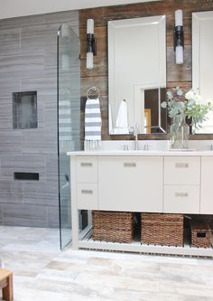 I like that it is not typical white subway tile and hex floor.....design indulgence: BEFORE AND AFTER