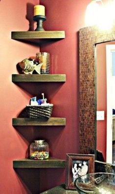 Corner shelves in bathroom - I love the red and the brown together.