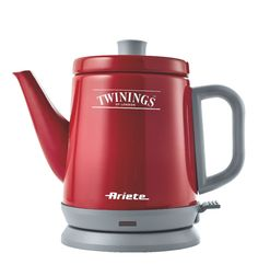 A collaboration between Twinings and Ariete created a line of small appliances for the preparation of tea.  It is a kettle shaped teapot, available in red & cream & in two sizes (0.8 and 1 liter), and a tea machine maker that allows you to automatically make the tea.  (Translation from Italian - can't find this anywhere!)
