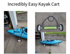I have been surching for a simple to make and easy to store kayak cart. Here it is.  Check out these instructions.   Kayaking For the Rest of Us.: The perfect portable kayak cart