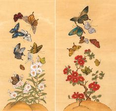 Korean Art, Asian Art, Nature Illustration, Traditional Paintings, Oriental, Japanese Art, Blackwork, Flower Art, Tatting