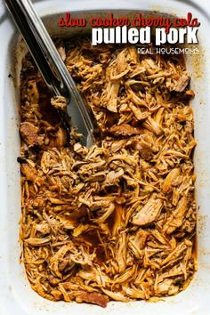 Juicy and tender Slow Cooker Cherry Cola Pulled Pork is the perfect set it and forget it Summer crockpot recipe. Serve over rice or on a bun topped with your favorite BBQ sauce! Pork Recipes, Cooker Recipes, Real Food Recipes, Crockpot Recipes, Yummy Food, Delicious Recipes, Pull Pork, Canned Cherries, Pork