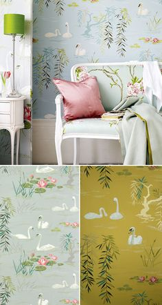 Swan lake wallpaper by Nina Campbell via sfgirlbybay.